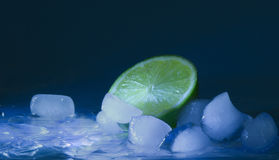 Lime and ice cubes Royalty Free Stock Images