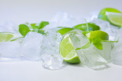 Lime on ice cubes with mint Stock Image
