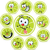 Lime icon cartoon with funny faces isolated Royalty Free Stock Photos