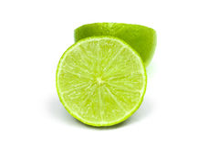 Lime isolated with mint on white background Stock Photo