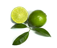 Lime isolated on white. Lime with half and leaves isolated on white stock images