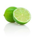 Lime and its half. Green lime and its half isolated on white with shadow and reflection Stock Photo