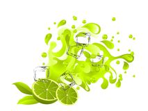 Lime juice. Limes and green juice splash with ice cubes Royalty Free Stock Images