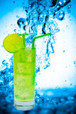 Lime juice. Fresh lime juice with water splash background Royalty Free Stock Photos