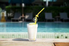 Lime juice at the pool Royalty Free Stock Photo