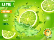 Lime juice poster advertising design. Vector mojito cocktail or citrus tonic.  royalty free illustration