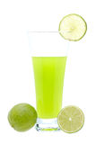 Lime juice with a slice Royalty Free Stock Photos