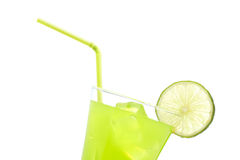 Lime juice with a slice Stock Photography