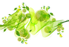 Lime juice splash with abstract wave Stock Image