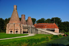 Lime kiln at Dedemsvaart, the netherlands. A lime kiln is a kiln used to produce quicklime by the calcination of limestone Stock Photos