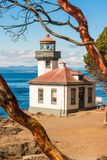 Lime Kiln Lighthouse in Friday Harbor on San Juan Island. Lime Kiln Lighthouse is set on a rocky bluff and is one of the best places for whale watching royalty free stock photos