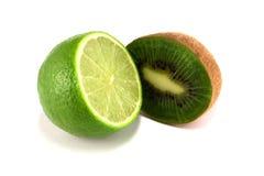 Lime and kiwi. Isolated on white background Stock Photography