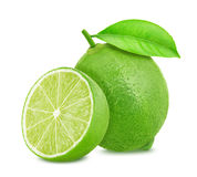 Lime with leaf isolated on white background stock photo