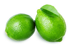 Lime with leaf Stock Photography