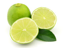 Lime with leaves Royalty Free Stock Images