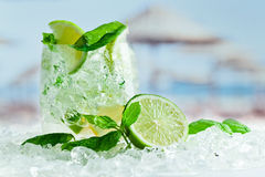 Lime and leaves of mint with ice Royalty Free Stock Photography