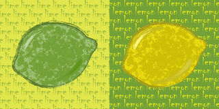 Lime and lemon. Drawings of lemon and lime in an abstract style Royalty Free Stock Image