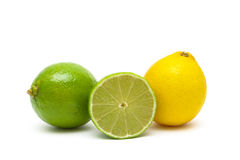 Lime and lemon isolated on a white background close-up Royalty Free Stock Photography