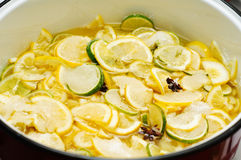Lime and lemon jam preparation Royalty Free Stock Image