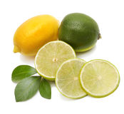 Lime, lemon and leaf Stock Photo