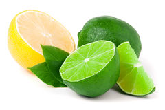 Lime and lemon with leaves isolated on white background Royalty Free Stock Photos