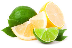 Lime and lemon with leaves isolated on white background Stock Photos