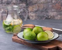 Lime and Lemon Lemonade with mint and ice royalty free stock image