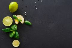 Lime and lemon with mint on black background stock image
