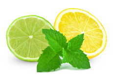 Lime with lemon and mint Royalty Free Stock Photo