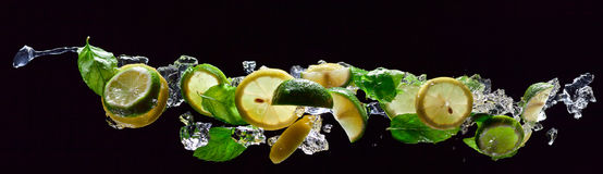Lime , lemon and  peppermint on a black background Stock Photos