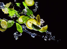 Lime , lemon and  peppermint on a black background Royalty Free Stock Photography