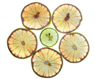Lime and lemon slices background Royalty Free Stock Photos