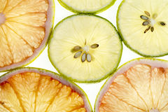 Lime and lemon slices background Stock Photography
