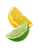 Lime and lemon slices isolated on white background Stock Photos