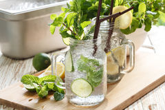 Lime lemon soda mint rosemary fresh drink summer Royalty Free Stock Photos