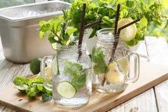 Lime lemon soda mint rosemary fresh drink summer Stock Image