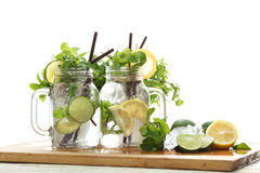 Lime lemon soda mint rosemary fresh drink summer Stock Photo
