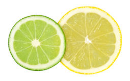 Lime and lemon. Two cut rings lime and lemon isolated on a white background Stock Image
