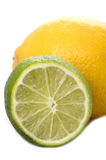 Lime and lemon on white background Stock Photos