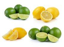 Lime and lemon on white background Stock Photos