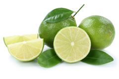 Lime limes slice organic fruits isolated on white Royalty Free Stock Image