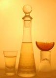 Lime and liquor. Shot glasses, limes and liquor vector illustration