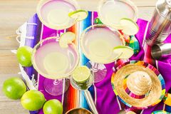 Lime margarita. Classic lime margarita with garnish lime and turbinado sugar for Fiesta Royalty Free Stock Photography