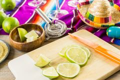 Lime margarita. Classic lime margarita with garnish lime and turbinado sugar for Fiesta Royalty Free Stock Photo