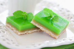 Lime mint cookie bar. Lime mint tart, selective focus Stock Images