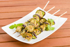 Lime, Mint & Coriander Chicken Kebabs Royalty Free Stock Photos