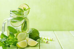 Lime and mint detox water Stock Image