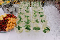 Lime and mint drink in bocals for the wedding catering Royalty Free Stock Image