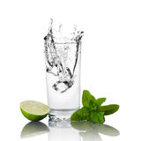 Lime, mint and glass of water royalty free stock images