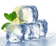 Lime, mint and ice cube. Isolated Stock Photos